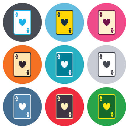 ace of hearts: Casino sign icon. Playing card symbol. Ace of hearts. Colored round buttons. Flat design circle icons set. Vector