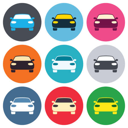 Car sign icon. Delivery transport symbol. Colored round buttons. Flat design circle icons set. Vector Vector