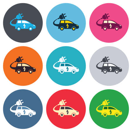hatchback: Electric car sign icon. Hatchback symbol. Electric vehicle transport. Colored round buttons. Flat design circle icons set. Vector Illustration