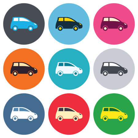 hatchback: Car sign icon. Hatchback symbol. Transport. Colored round buttons. Flat design circle icons set. Vector Illustration