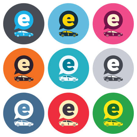 saloon: Electric car sign icon. Sedan saloon symbol. Electric vehicle transport. Colored round buttons. Flat design circle icons set. Vector