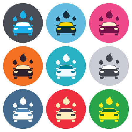 Car wash icon. Automated teller carwash symbol. Water drops signs. Colored round buttons. Flat design circle icons set. Vector Vector