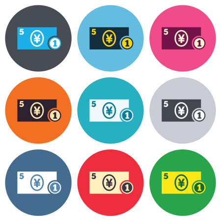 jpy: Cash sign icon. Yen Money symbol. JPY Coin and paper money. Colored round buttons. Flat design circle icons set. Vector Illustration