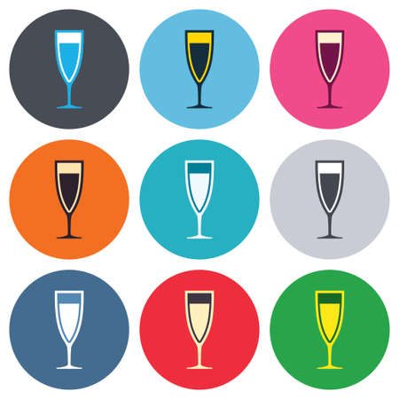 banquet: Glass of champagne sign icon. Sparkling wine. Celebration or banquet alcohol drink symbol. Colored round buttons. Flat design circle icons set. Vector