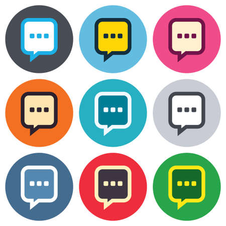 three dots: Chat sign icon. Speech bubble with three dots symbol. Communication chat bubble. Colored round buttons. Flat design circle icons set. Vector Illustration