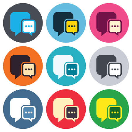 three points: Chat sign icon. Speech bubble with three dots symbol. Communication chat bubble. Colored round buttons. Flat design circle icons set. Vector Illustration