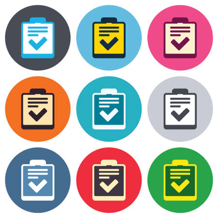 set form: Checklist sign icon. Control list symbol. Survey poll or questionnaire feedback form. Colored round buttons. Flat design circle icons set. Vector Illustration
