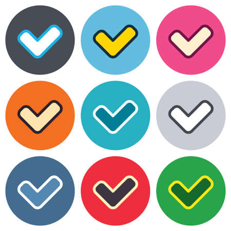 Check sign icon. Yes button. Colored round buttons. Flat design circle icons set. Vector Vector