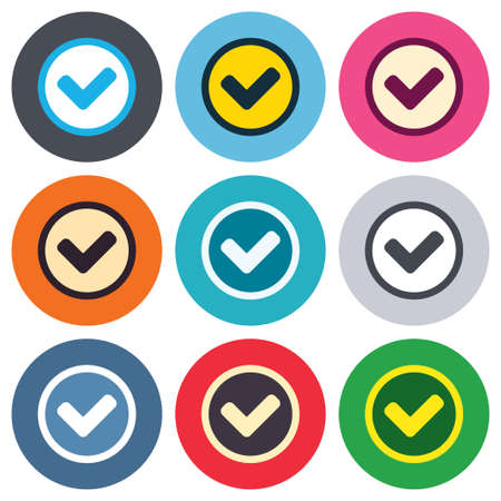 Check mark sign icon. Yes circle symbol. Confirm approved. Colored round buttons. Flat design circle icons set. Vector Vector