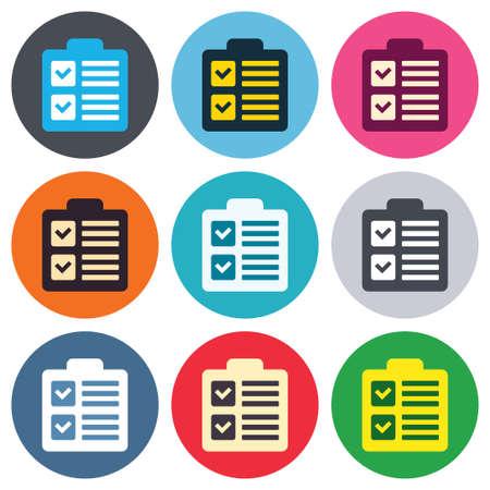 poll: Checklist sign icon. Control list symbol. Survey poll or questionnaire form. Colored round buttons. Flat design circle icons set. Vector