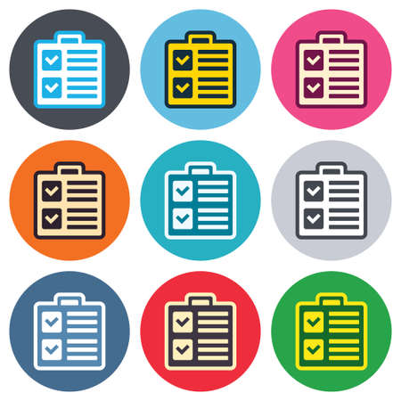 Checklist sign icon. Control list symbol. Survey poll or questionnaire form. Colored round buttons. Flat design circle icons set. Vector Vector