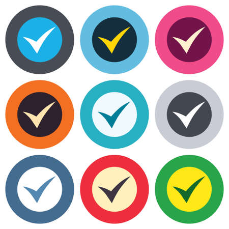 Check sign icon. Yes symbol. Confirm. Colored round buttons. Flat design circle icons set. Vector Vector