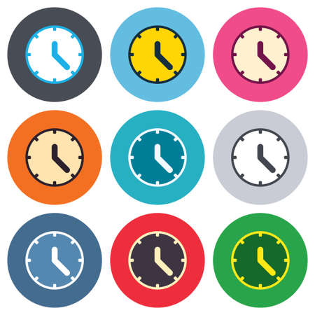 Clock sign icon. Mechanical clock symbol. Colored round buttons. Flat design circle icons set. Vector Vector