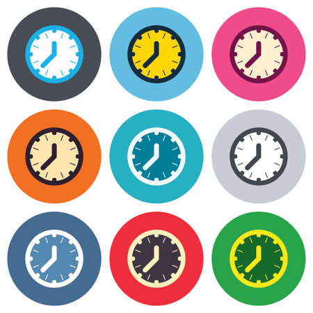 Clock time sign icon. Mechanical watch symbol. Colored round buttons. Flat design circle icons set. Vector Vector