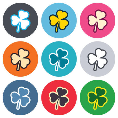 Clover with three leaves sign icon. Trifoliate clover. Saint Patrick trefoil symbol. Colored round buttons. Flat design circle icons set. Vector Vector