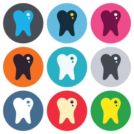 stomatologist: Caries tooth icon. Tooth filling sign. Dental care symbol. Colored round buttons. Flat design circle icons set. Vector
