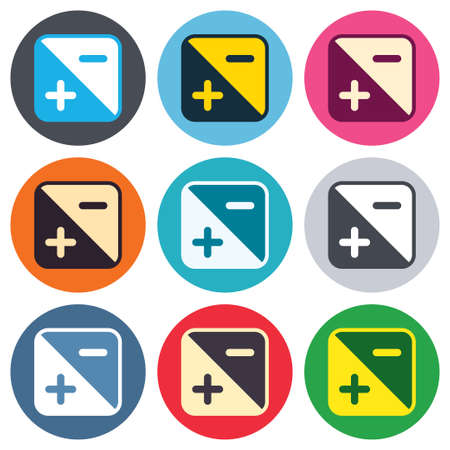 luminance: Exposure photo camera sign icon. Quantity of light settings. Colored round buttons. Flat design circle icons set. Vector
