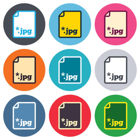 File JPG sign icon. Download image file symbol. Colored round buttons. Flat design circle icons set. Vector Vector