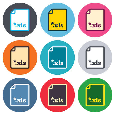 file extension: Excel file document icon. Download xls button. XLS file extension symbol. Colored round buttons. Flat design circle icons set. Vector