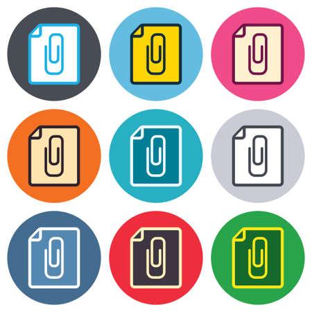 attach: File annex icon. Paper clip symbol. Attach symbol. Colored round buttons. Flat design circle icons set. Vector Illustration
