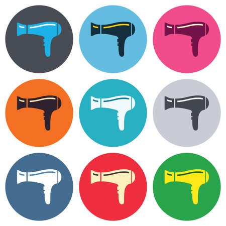 blow drying: Hairdryer sign icon. Hair drying symbol. Colored round buttons. Flat design circle icons set. Vector