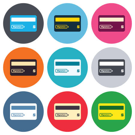 cashless payment: Credit card sign icon. Debit card symbol. Virtual money. Colored round buttons. Flat design circle icons set. Vector