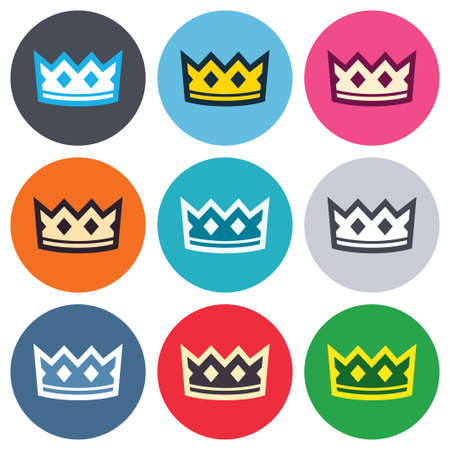 coronation: Crown sign icon. King hat symbol. Colored round buttons. Flat design circle icons set. Vector