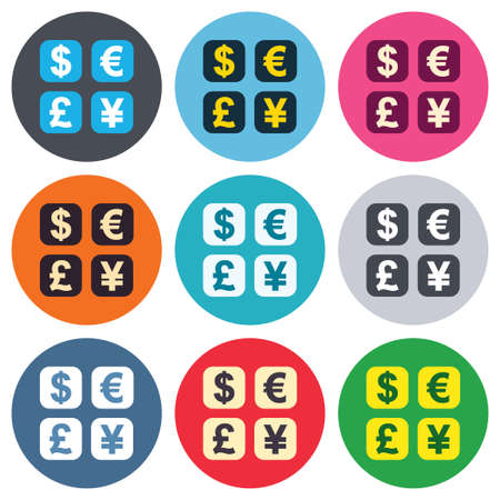 currency converter: Currency exchange sign icon. Currency converter symbol. Money label. Colored round buttons. Flat design circle icons set. Vector