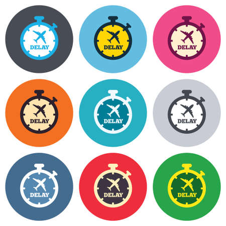 delayed: Delayed flight sign icon. Airport delay timer symbol. Airplane icon. Colored round buttons. Flat design circle icons set. Vector Illustration