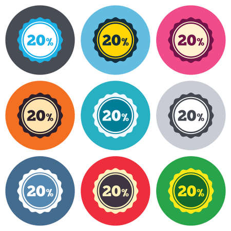 20 percent discount sign icon. Sale symbol. Special offer label. Colored round buttons. Flat design circle icons set. Vector Vector