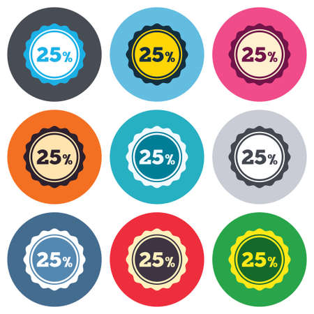 25 percent discount sign icon. Sale symbol. Special offer label. Colored round buttons. Flat design circle icons set. Vector Vector