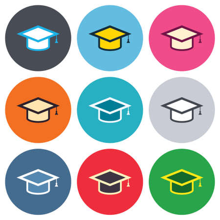 higher: Graduation cap sign icon. Higher education symbol. Colored round buttons. Flat design circle icons set. Vector