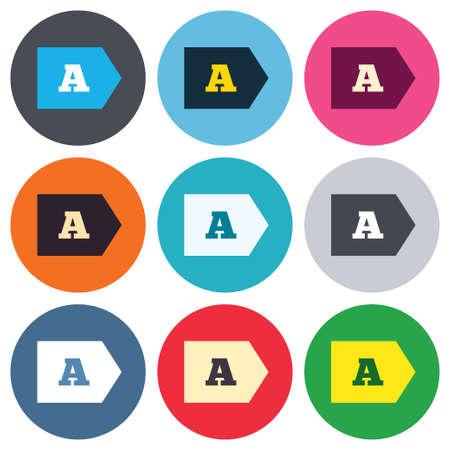 consumo energia: L'efficienza energetica di classe A segno icona. Energia simbolo consumi. Pulsanti rotondi colorati. Piatti disegno cerchio Set di icone. Vettore