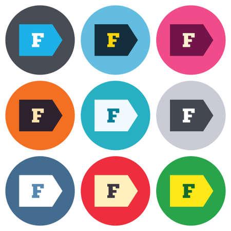 消費: エネルギー効率クラス F 記号アイコン。エネルギー消費量のシンボルです。色付きの丸ボタン。フラットなデザイン サークルのアイコンを設定します。ベクトル