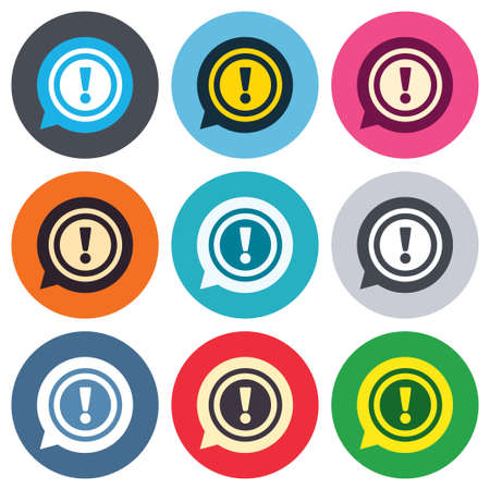 Exclamation mark sign icon. Attention speech bubble symbol. Colored round buttons. Flat design circle icons set. Vector Vector