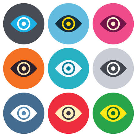 publish: Eye sign icon. Publish content button. Visibility. Colored round buttons. Flat design circle icons set. Vector