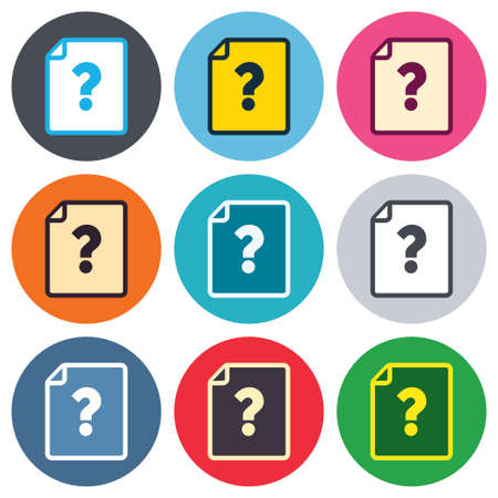 quality questions: File document help icon. Question mark symbol. Colored round buttons. Flat design circle icons set. Vector