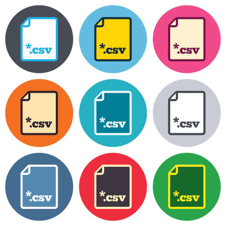 csv: File document icon. Download tabular data file button. CSV file extension symbol. Colored round buttons. Flat design circle icons set. Vector