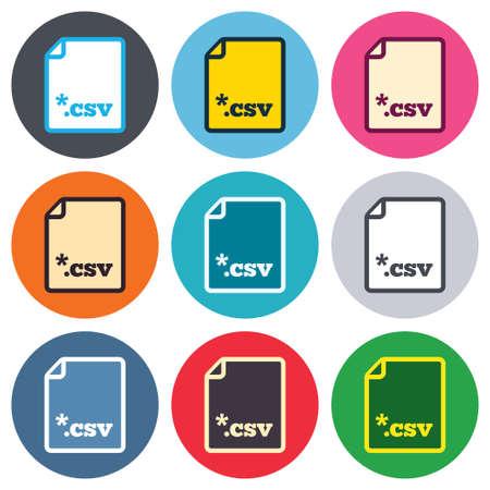 tabellare: File icona del documento. Scaricare pulsante tabellare file di dati. CSV simbolo estensione del file. Pulsanti rotondi colorati. Appartamento di design cerchio icone set. Vettore