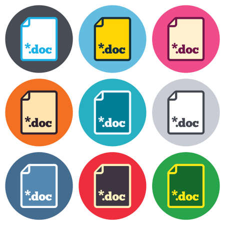 file extension: File document icon. Download doc button. Doc file extension symbol. Colored round buttons. Flat design circle icons set. Vector Illustration