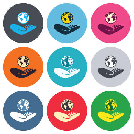 hand colored: World insurance sign. Hand holds planet symbol. Travel insurance. World peace. Colored round buttons. Flat design circle icons set. Vector
