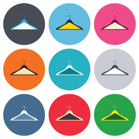 cloakroom: Hanger sign icon. Cloakroom symbol. Colored round buttons. Flat design circle icons set. Vector