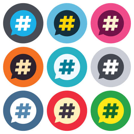 Hashtag speech bubble sign icon. Social media symbol. Colored round buttons. Flat design circle icons set. Vector