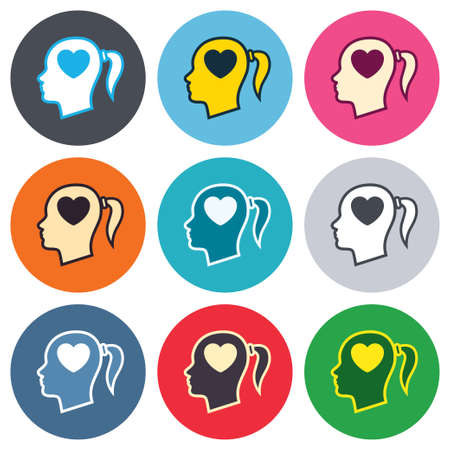 pigtail: Head with heart sign icon. Female woman human head in love with pigtail symbol. Colored round buttons. Flat design circle icons set. Vector
