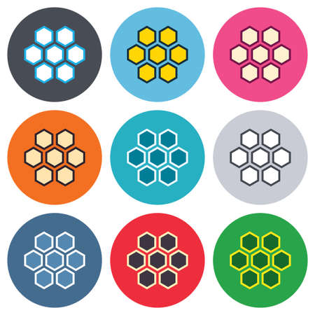 Honeycomb sign icon. Honey cells symbol. Sweet natural food. Colored round buttons. Flat design circle icons set. Vector Vector