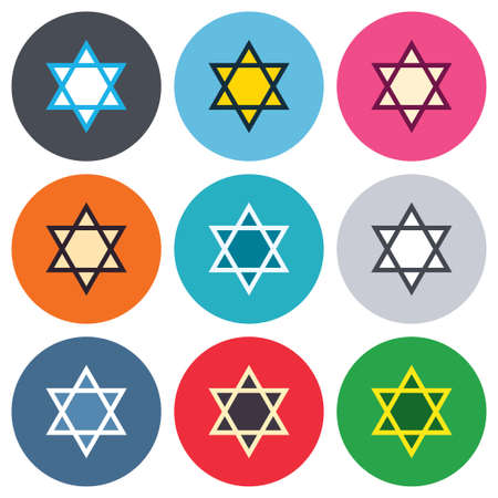 hexagram: Star of David sign icon. Symbol of Israel. Jewish hexagram symbol. Shield of David. Colored round buttons. Flat design circle icons set. Vector