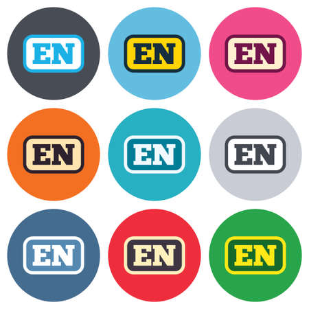 en: English language sign icon. EN translation symbol with frame. Colored round buttons. Flat design circle icons set. Vector