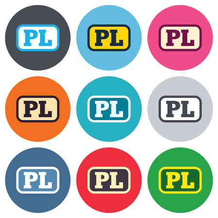 Polish language sign icon. PL translation symbol with frame. Colored round buttons. Flat design circle icons set. Vector Vector