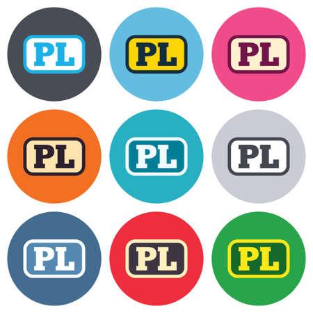 pl: Polish language sign icon. PL translation symbol with frame. Colored round buttons. Flat design circle icons set. Vector Illustration