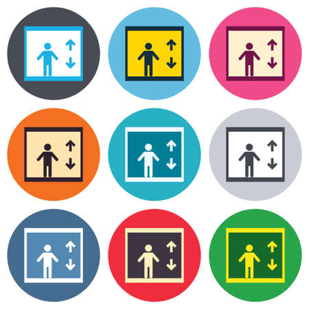 elevate: Elevator sign icon. Person symbol with up and down arrows. Colored round buttons. Flat design circle icons set. Vector